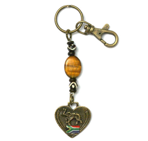 Picture of Key Ring - Tigers Eye (SA Flag / Elephant)