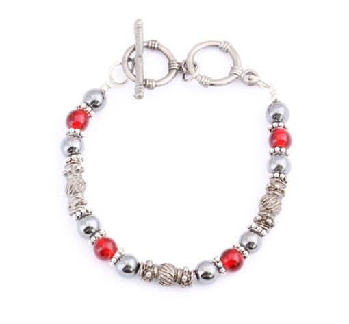 Picture of Bracelet - Hematite (Red Beads)