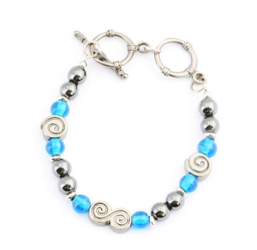 Picture of Bracelet - Hematite (Turquoise Beads)