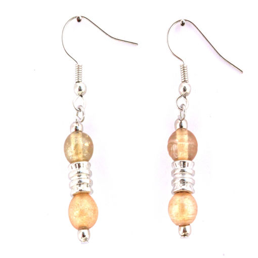 Picture of Earrings - Glass Foiled Beads (Amber)