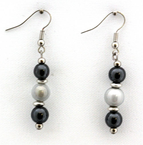 Picture of Earrings - Hematite (White Beads)