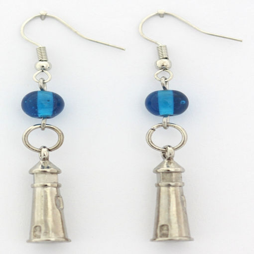 Picture of Earrings - Lighthouse (Blue Glass Beads)