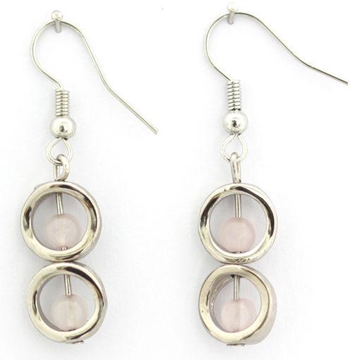 Picture of Earrings - Stone / Metal (Rose Quartz)
