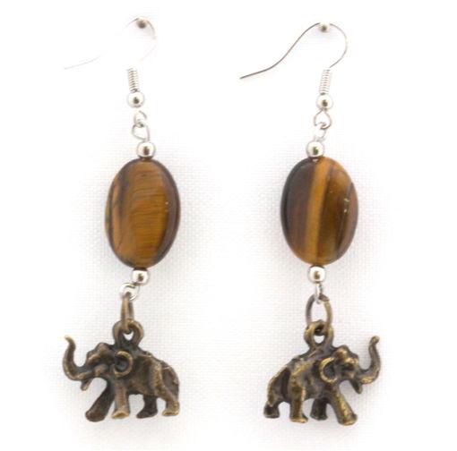 Picture of Earrings - Tigers Eye (Elephant)