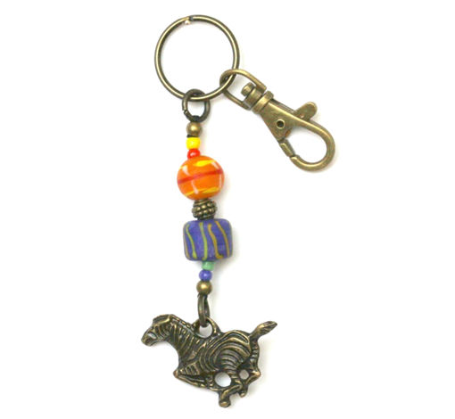 Picture of Key Ring - African Trade Bead (Zebra)