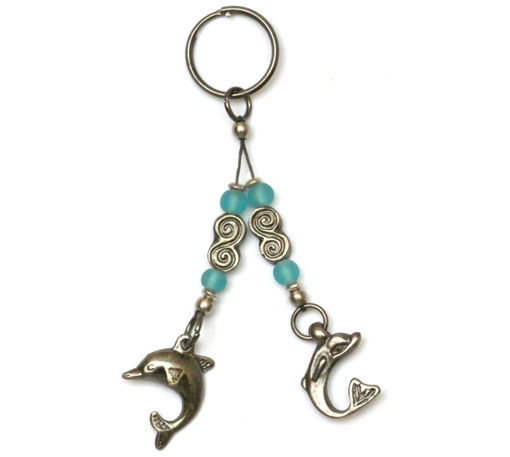 Picture of Key Ring - Double Beaded Bone/Metal (Dolphin)