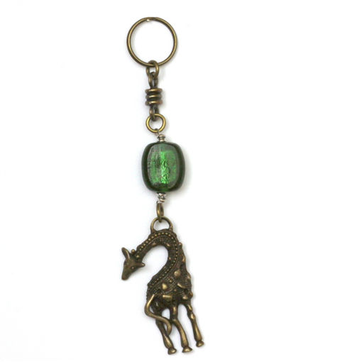Picture of Key Ring - Glass Foiled Bead (Giraffe)