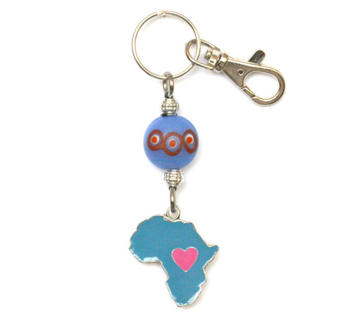 Picture of Key Ring - Hand Painted (Africa / Heart)
