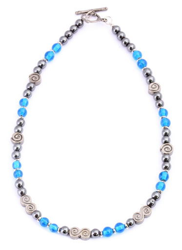 Picture of Necklace - Hematite (Turquoise Beads)