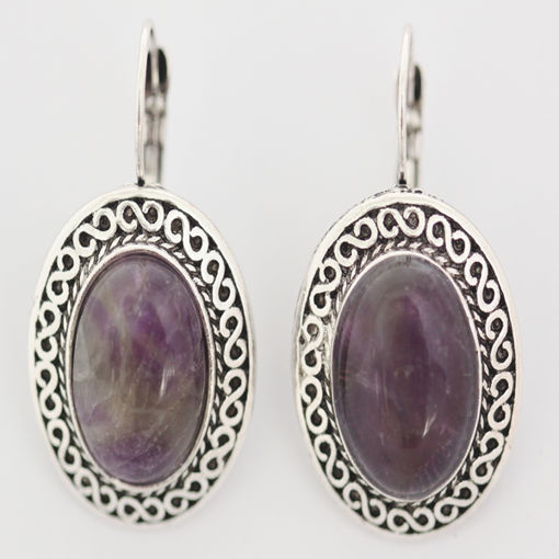 Picture of Earrings - Stone / Metal (Amethyst)