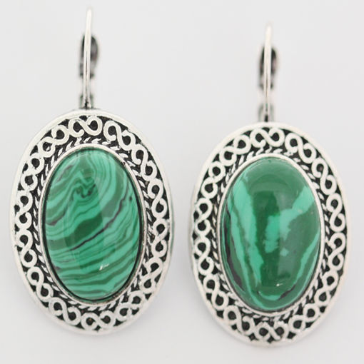 Picture of Earrings - Stone / Metal (Malachite)