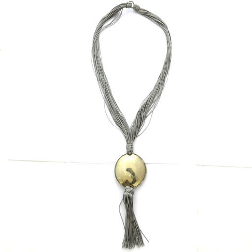 Picture of Necklace - Multi-stranded / Metal Pendant (Grey)