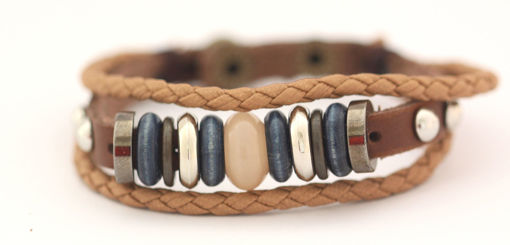 Picture of Bracelet - Beaded Leather