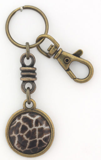 Picture of Key Ring - Charmed Round with Clip (Giraffe Print)