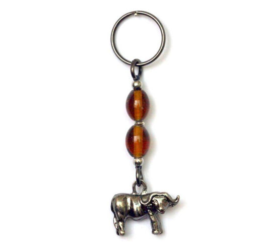 Picture of Key Ring - Amber Glass Beaded (Buffalo)