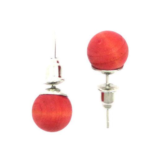 Picture of Earrings - Wooden Stud (Maroon)