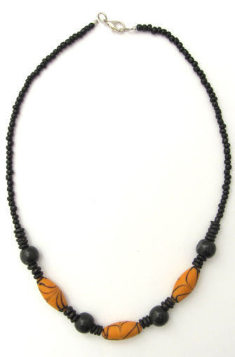 Picture of Necklace - Glass/Wood (Orange/Black)