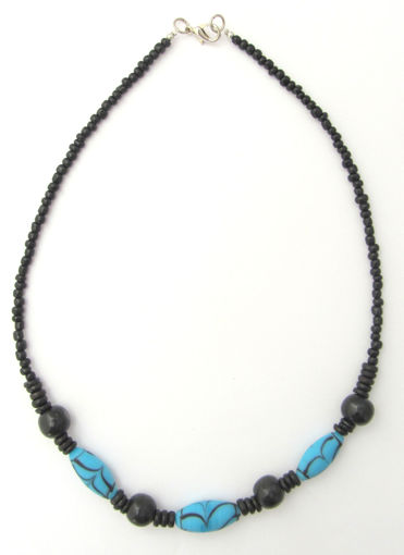 Picture of Necklace - Glass/Wood (Turquoise/Black)