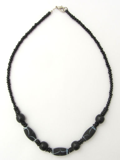 Picture of Necklace - Glass/Wood (Black)