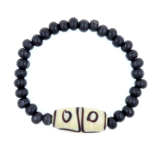Picture of Bracelet - Glass/Wood (Creme/Black)