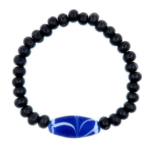Picture of Bracelet - Glass/Wood (Dark Blue/Black)
