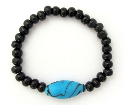 Picture of Bracelet - Glass/Wood (Turquoise/Black)