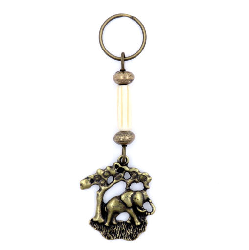 Picture of Key Ring - Single Beaded (Bone Elephant)