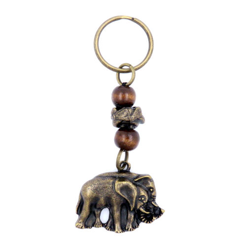 Picture of Key Ring - Single Beaded  (Wooden Bead Elephant)