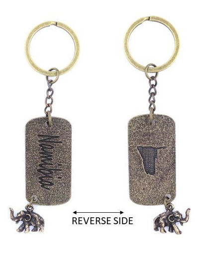 Picture of Key Ring - Double-sided Dog Tag - Namibia (Antique Brass)