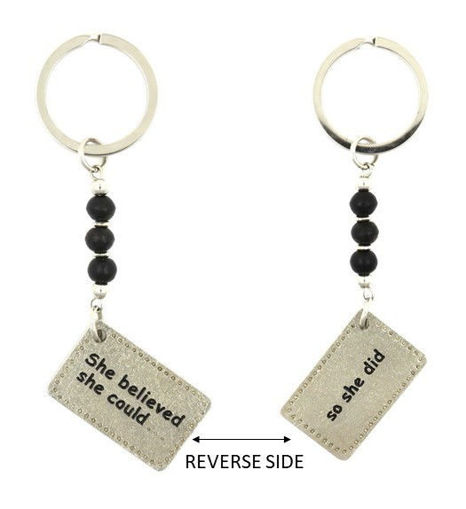 Picture of Key Ring - She believed with Glass Beads