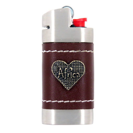 Picture of Leather Lighter Cover - Africa / Heart