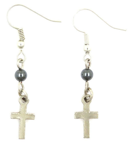 Picture of Earrings - Cross with Hematite Stone