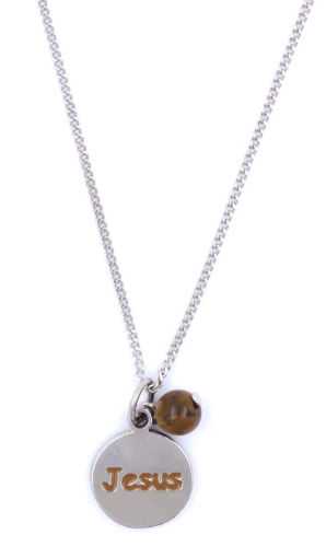 Picture of Necklace - Brown Painted Jesus Pendant with Tigers Eye Stone on Chain