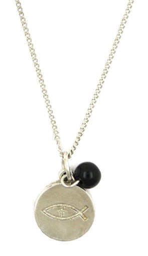 Picture of Necklace - Fish with Black Stone on Chain
