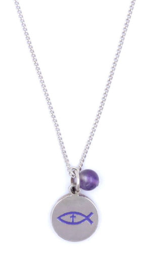 Picture of Necklace - Purple Painted Fish with Amethyst Stone on Chain