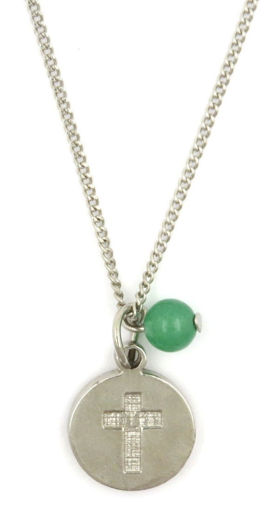 Picture of Necklace - Cross with Green Stone on Chain
