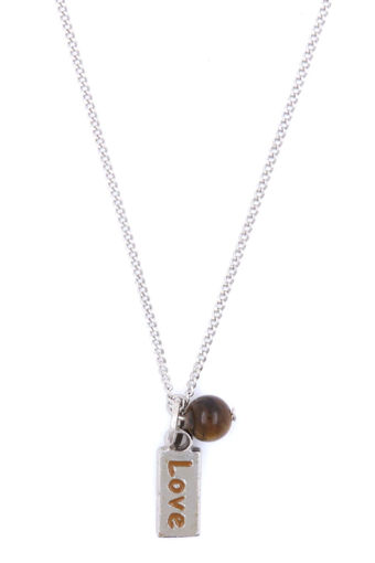 Picture of Necklace - Brown Painted Love with Tigers Eye Stone on Chain