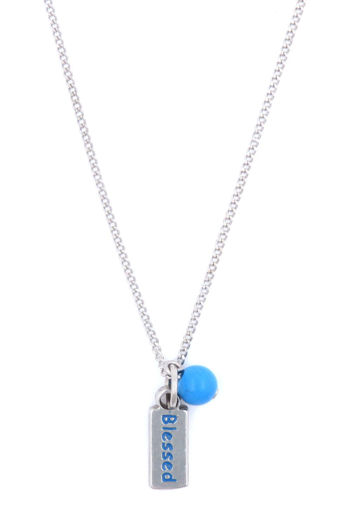 Picture of Necklace - Blue Painted Blessed with Blue Stone on Chain