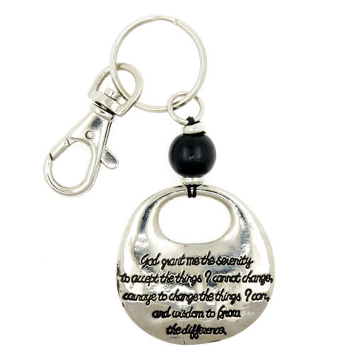 Picture of Key Ring - Serenity Prayer with Black Bead