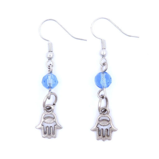Picture of Earrings - Hamesh Hand with Blue Bead