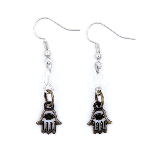 Picture of Earrings - Hamesh Hand with White Bead (Antique Brass)