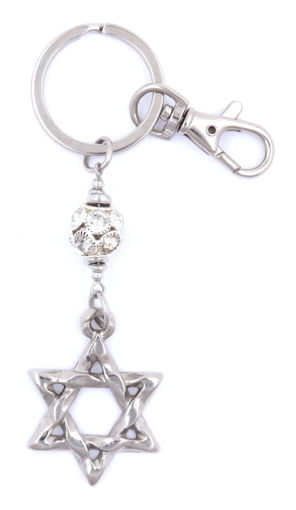 Picture of Key Ring / Clip - Star of David with Bling